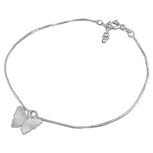 """10"""" -10.5"""" Sterling Silver Adjustable Box Chain Butterfly Anklet"""
