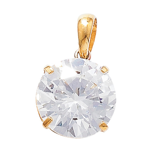 9ct Gold 10mm Cubic Zirconia Four claw pendant