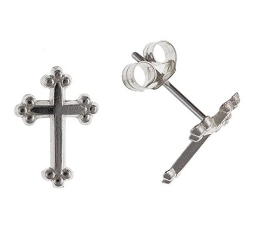 Sterling silver Budded Gothic cross stud earrings