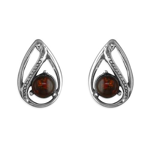 Sterling Silver Cognac Amber Fancy teardrop Stud Earrings