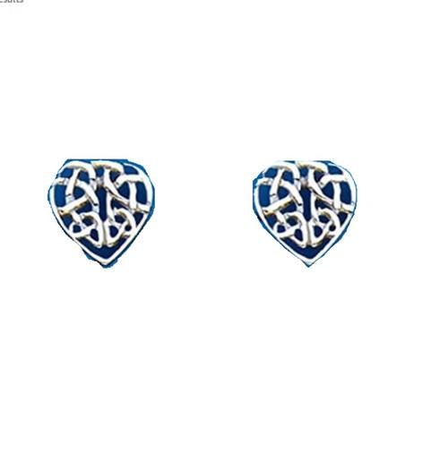 Sterling Silver Celtic style Heart stud earrings