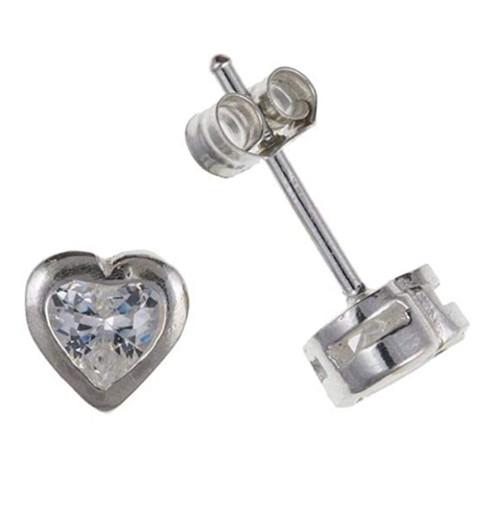Sterling Silver Heart Shaped Cubic Zirconia Rubover stud earrings