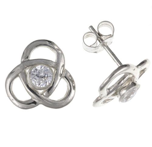 Sterling Silver Cubic Zirconia trinity celtic knot stud earrings