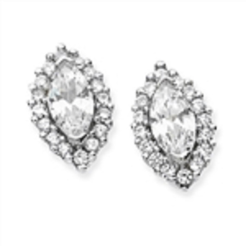 Sterling Silver clear Cubic Zirconia Marquise Cluster Stud Earrings