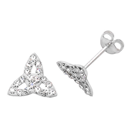 Sterling Silver Celtic Triquetra crystal stud earrings