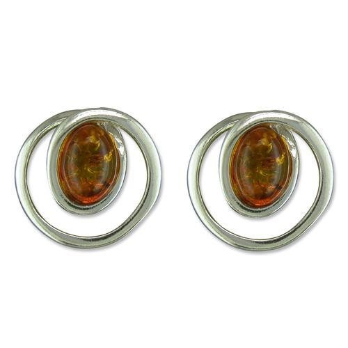 Sterling Silver Cognac Amber in swirl Stud Earrings