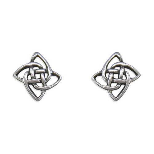 Sterling Silver small square celtic knot stud earrings