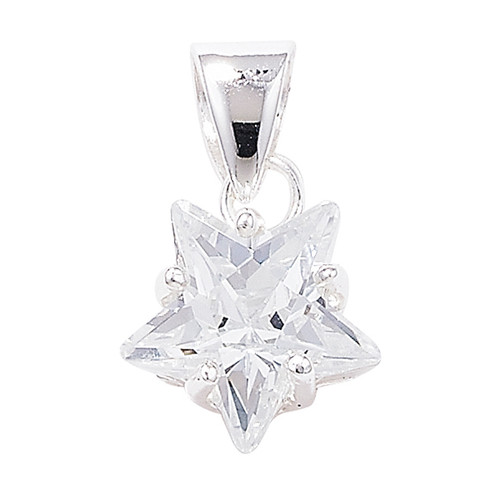 Sterling Silver Star shaped Cubic Zirconia Pendant