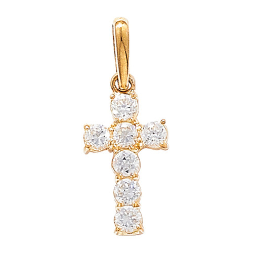 9ct Gold Extra Small Cubic Zirconia Cross Pendant