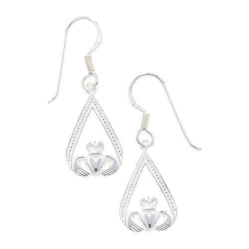 Sterling Silver claddagh drop Earrings 1.7g