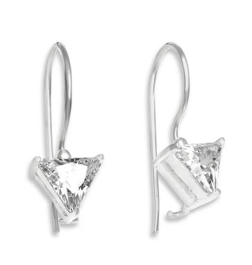 Sterling Silver Trillion cut Cubic Zirconia Hook Earrings