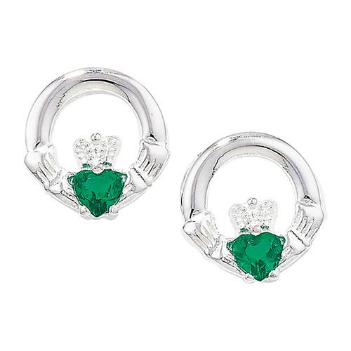 Sterling silver Emerald Agate set claddagh stud earrings