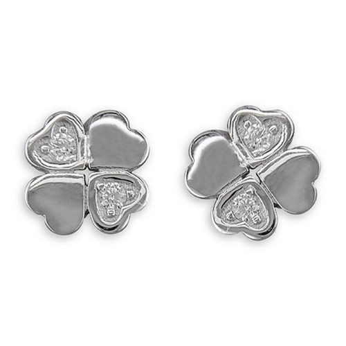 Sterling Silver Cubic Zirconia Four Leafed Clover Stud Earrings