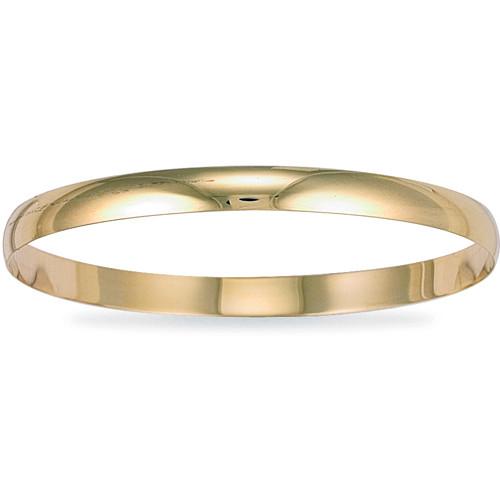 9ct Gold 6mm thick Plain D-shape Slave Bangle 10.8g