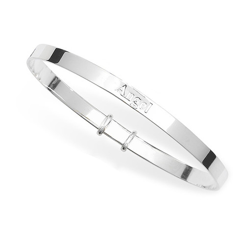 Sterling Silver Expandable Kids Angel Bangle 5.18g