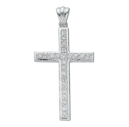 Sterling Silver Large Cubic Zirconia Cross Pendant