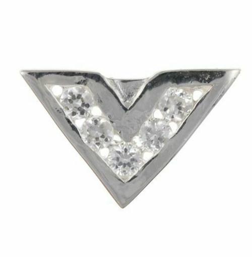 Sterling silver Cubic Zirconia Chevron Gents single stud earring