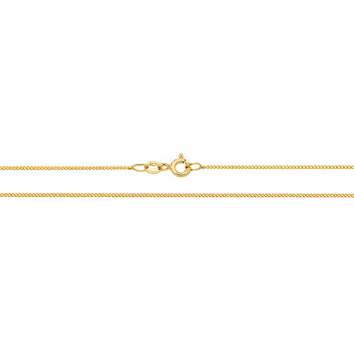 """16"""" 0.9mm thick 18ct Gold curb chain 1.54g"""