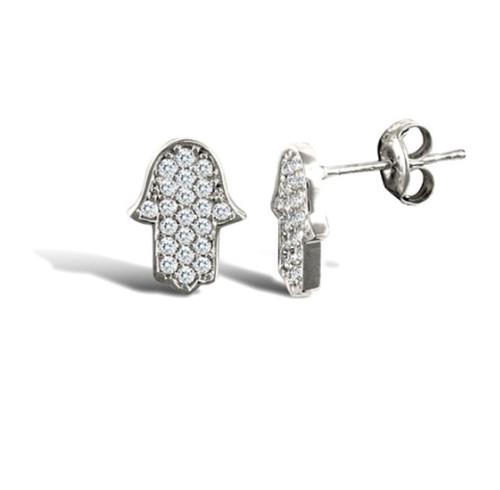 9ct White gold Cubic Zirconia Hamsa stud earrings