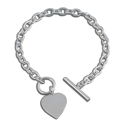 Ladies 7.5 inch Sterling silver Heart toggle T bar bracelet 18g