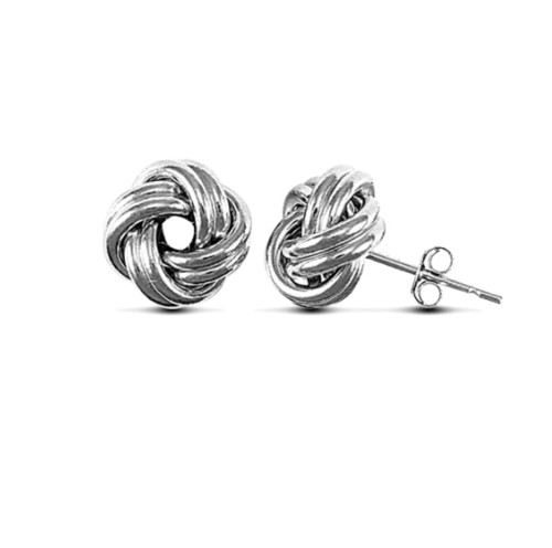 9ct White gold Love knot stud earrings