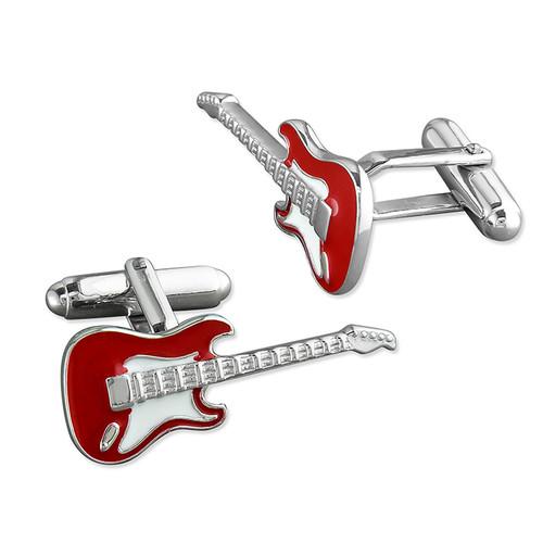 Sterling Silver Enamelled Guitar swivel back cufflinks