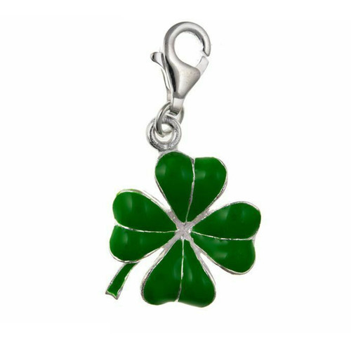 Sterling Silver Clip-on Green enamelled Four Leaf Clover Charm