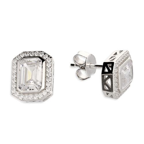 Sterling silver Emerald cut Cubic Zirconia halo stud earrings