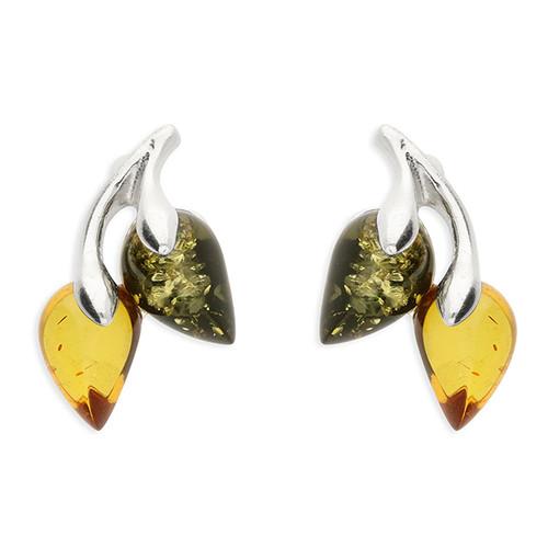 Sterling silver Green and cognac amber leaf stud earrings