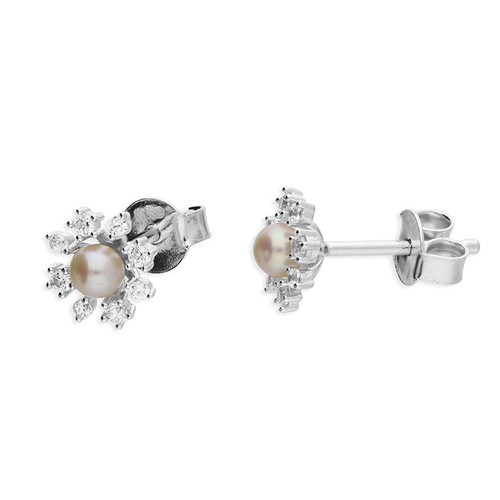 Sterling silver Cubic Zirconia Pearl flower stud earrings