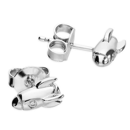 Sterling silver Cubic Zirconia spaceship stud earrings