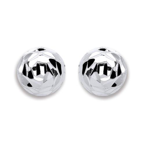 8mm Half domed Sterling Silver Diamond Cut Stud Earrings