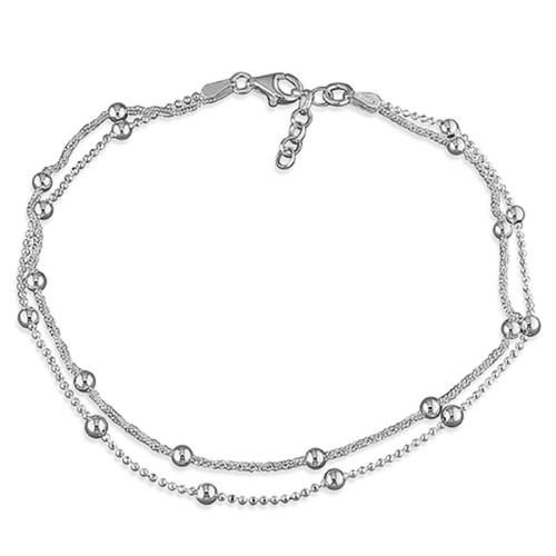 """10"""" -10.5"""" Ladies Sterling Silver Double Strand Beaded Anklet"""