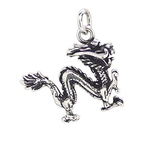 Sterling Silver Antique Oxidised effect Chinese Dragon pendant 2.9g