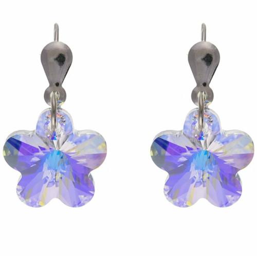 Sterling silver hook in flower shaped Austrian crystal earrings