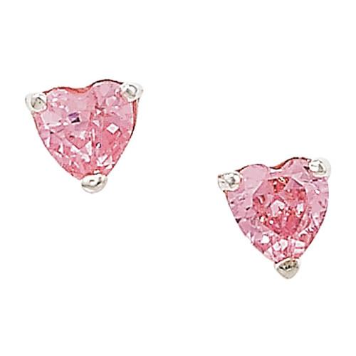 4mm Heart shaped Pink Cubic Zirconia sterling silver stud earrings