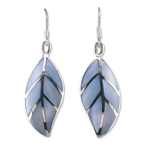 Sterling Silver Blue Mother of pearl leaf drop hook earrings