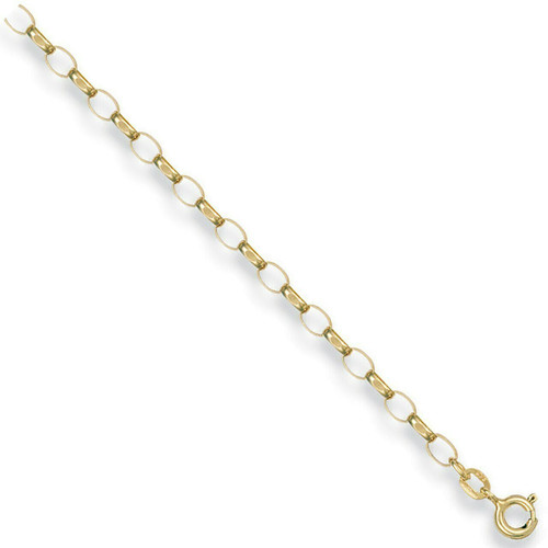 3mm thick 9ct gold Diamond cut Oval link belcher chain