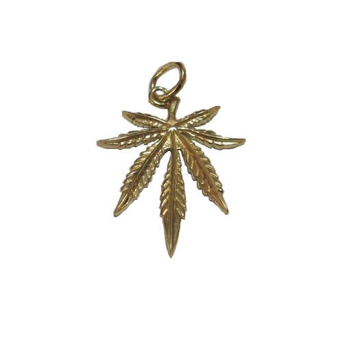 9ct Gold Small Ganja Leaf Pendant 0.9g