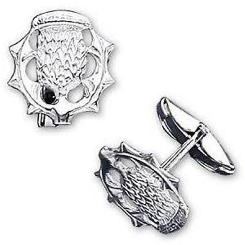 Sterling Silver Scottish Thistle Gents Swivel back Cufflinks