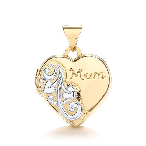 9ct gold Yellow and white gold heart shaped mum locket