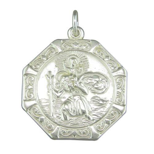 Sterling silver Octagonal St Christopher Pendant 6.55g