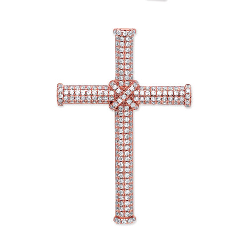 Rose gold plated Sterling silver micro pave cross pendant 3.4g