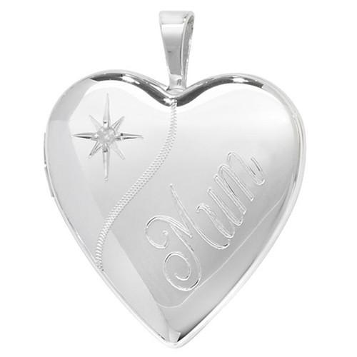 Sterling Silver Heart shaped Diamond set MUM locket