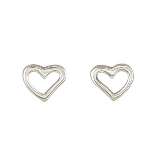 Sterling Silver Solid plain cut out Heart Stud Earrings