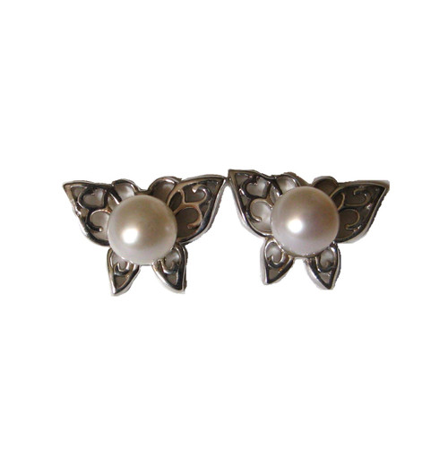 Sterling silver Butterfly stud earrings set with white freshwater pearls