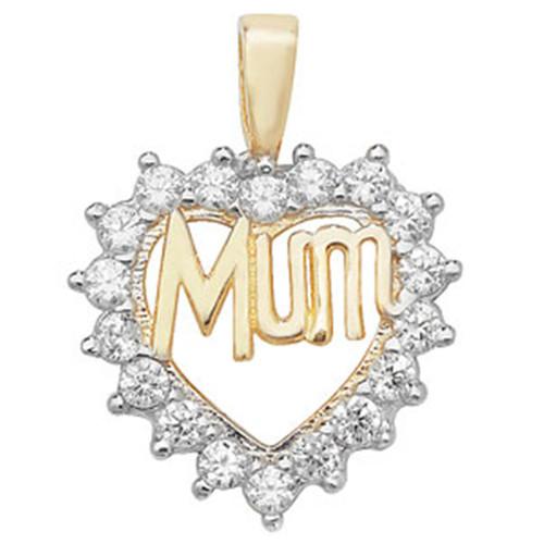 9ct Gold Mum in cubic zirconia heart Pendant 1.5g