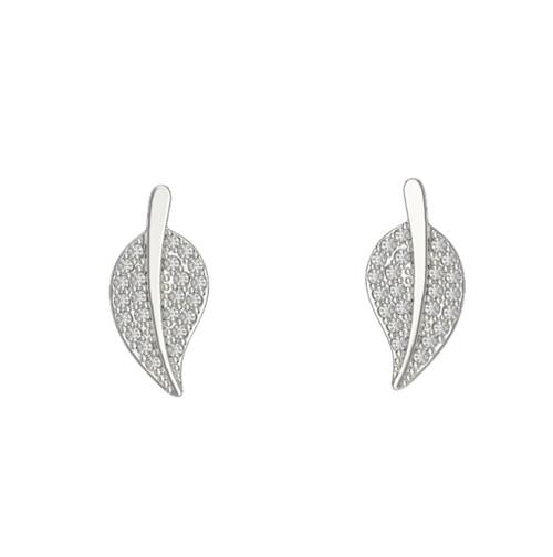 Sterling Silver Cubic Zirconia Leaf stud Earrings 2.12g