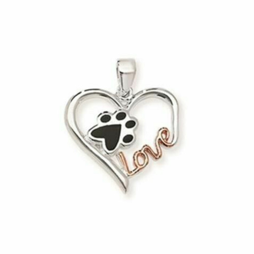 Sterling silver rose gold plated paw in love heart pendant