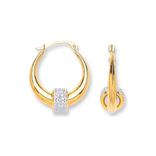 9ct Gold Hoop and Crystal Bead Earrings 1.39g